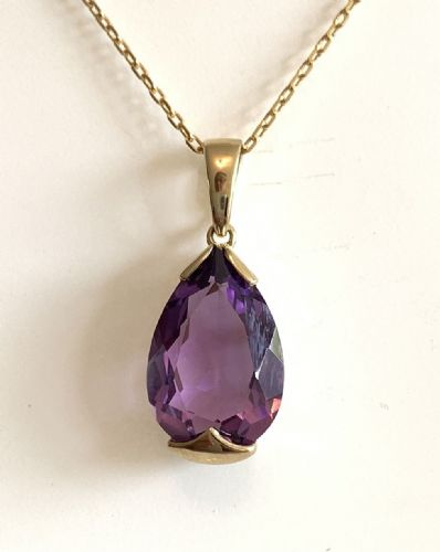 Large Pear Shaped Purple Amethyst Yellow Gold Necklace 0252YAM